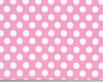 Sadie's Dance Card Tanya Whelan Fabric Vintage Inspired Big Dot White Polka Dots on Pink