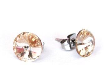 Champagne Rivoli Stud Earrings, Light Silk Crystal Post Earrings, 8mm Swarovski stud Earrings, Stainless Steel Post Earrings, Bridal earring