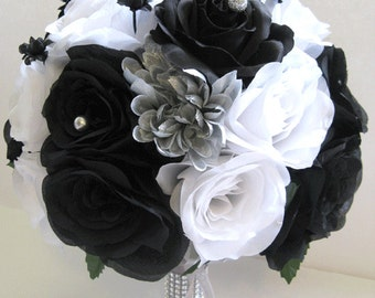 "Wedding flowers silk Bridal bouquet 17 piece Package WHITE BLACK SILVER Artificial bouquets Centerpiece decorations ""RosesandDreams"""