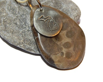 Polished Petoskey Stone Pendant Hand Stamped pewter State of Michigan hand polished beach stone, up north Michigan, Lake stone, beach fossil