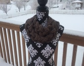 Double Braided Cowl - Braided Necklace Cowl - Braided Scarf - Braided Button Scarf  - ANY color