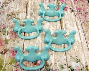 Set of 4 One Hole Knob Vintage Chippendale Style Aqua Blue Drawer Pulls Perfect for Covering Odd Holes