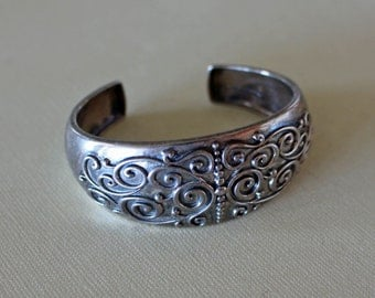 Silver Decorated Cuff Bracelet