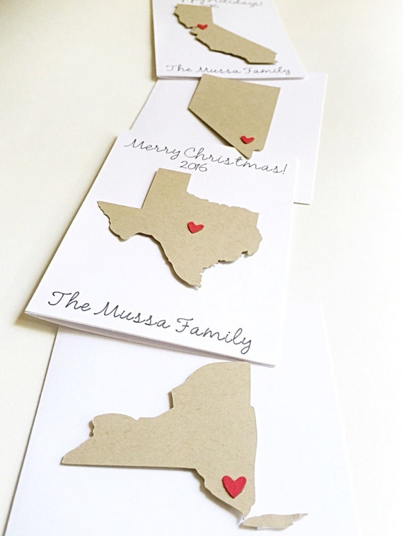State Christmas cards-state holiday cards,state cards,states,Christmas cards,sending love,personalized note cards,personalized Christmas car