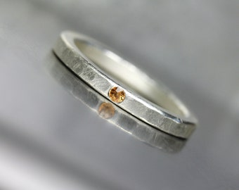 Delicate Silver Orange Sapphire Wedding Ring Women's Subtle Hammered Tangerine Yellow Gemstone Bridal Band Subtle Textured Finish - Sun Dab