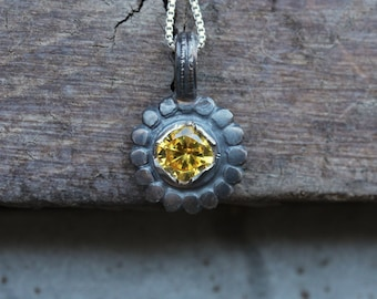Oxidized Silver Flower Intense Yellow CZ Necklace Rustic Primitive Black Floral Boho Spring Design Metal Formed Forged Pendant - Dark Daisy