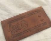 Vintage checkbook cover handtooled leather flowers 1930s purse passport wallet