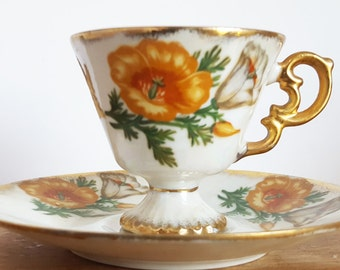Poppy Tea Cup and Saucer, California Poppies, UCAGCO Flower of the Month, August Birthday Gift, Lusterware, Lustreware, Display Teacup
