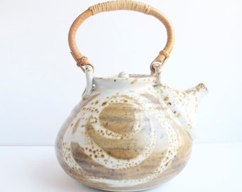 Tea Pot, Artist Made, Hand Made, Unique and One of a Kind, Signed, Brown and Gray, Bamboo Handle, Large And Heavy, Local Pick Up Available