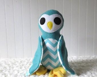 Teal Owl, Striped Owl, Plush Owl, Toy Owl, Owl Doll