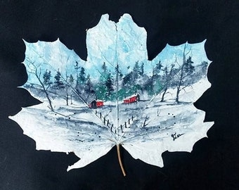 Original Watercolor Painting Landscape Painting, Winter Scene, Maple leaf painting, pinetreeart, WATERCOLOR, Original