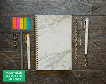 Marble Planner / Weekly / Half-Size / 12 Months / Choose Your Layout (Vertical or Horizontal) / Pick Your Own Starting Month