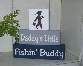 New Boys Daddy's Little Fishing Buddy Wood Sign Blocks Nursery Decor Kids Room Shower Gift