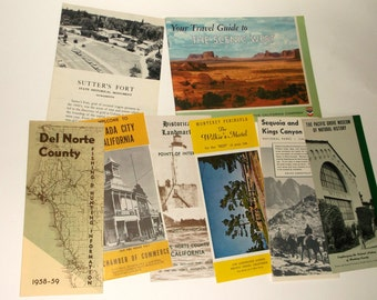 Vintage CALIFORNIA TRAVEL Pamphlets /Booklets • 8 count