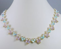 Necklace Woven Pearl and Springtime Opal