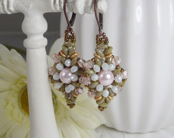 Woven Earrings Pastel Blossoms Pink Pearl Green Super Duos