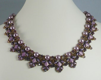 Woven Pearl Necklace Amethyst Silky Beads and Copper O Beads Swarovski Crystal Accents