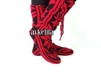 Christmas Gift, Long Slippers, Warm Slippers, Mukluk, Leg Warmers, Womens Slippers