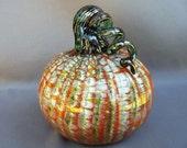 Glass Pumpkin,Art Glass, Hand Blown, Curly Stem