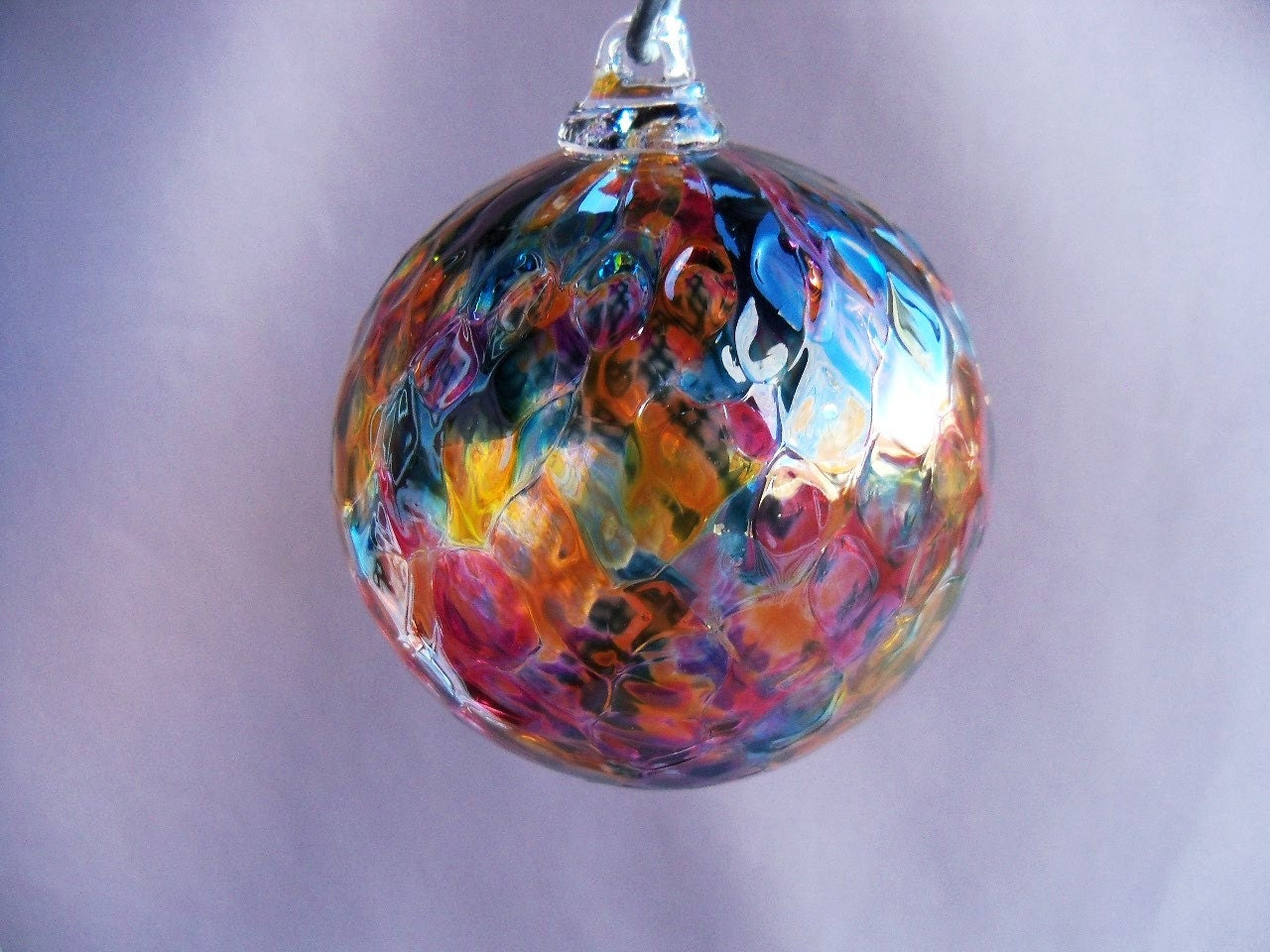 Hand blown art glass christmas ornament ball suncatcher