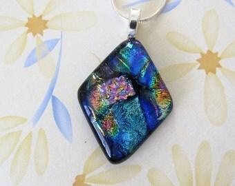 Blue, Green, Copper, Pink, and Gold Fused Glass Pendant - Dichroic Glass Necklace - Diamond Shaped Dichroic Glass Jewelry - 141-16