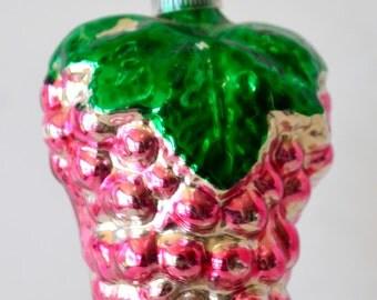 Vintage Christmas Bumpy Berry Pink Glass Ornament Austria