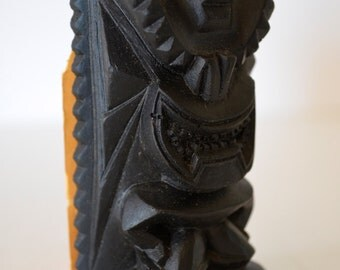 Vintage Coco Joe's God of Happiness Tiki Totem Figurine Hauoli Legends in Lava Hawaii Souvenir
