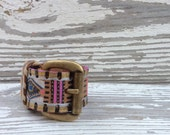 Upcycled Leather Belt Cuff Bracelet Tribal Look