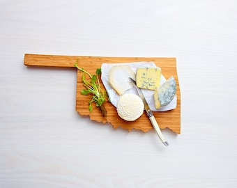 Oklahoma Cutting Board 4th of july Gift Personalized engraved Oklahoma cheese state shaped board