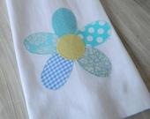 Dish Towel with a blue patchwork flower applique