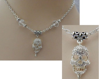 Silver Jeweled Skull Pendant Necklace Jewelry Handmade NEW Adjustable Accessories Fashion