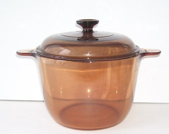 Pyrex Visions Amber Cover Bowl, Made in France, Corningware, Bowl with Lid, Pyrex Cookware, Pyrex 4 Qt. Bowl, Glass cookware by Pyrex