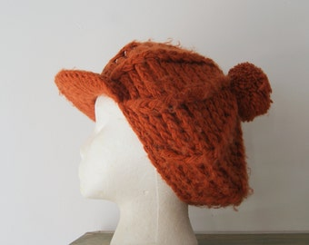 Vintage Rust Orange Knit Cap One Size