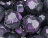 """24mm x 23mm (15/16"""" x 29/32"""") Round Purple Faceted Acrylic / Plastic Opaque Beads (4pcs). 3.5mm hole. 0140"""