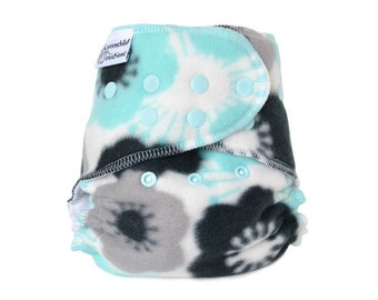 Cloth Diaper Cover OS, Fleece - Flowers, aqua, black, grey
