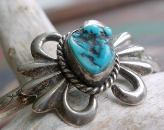Sandcast Turquoise Nugget Sterling Cuff Bracelet 1960s