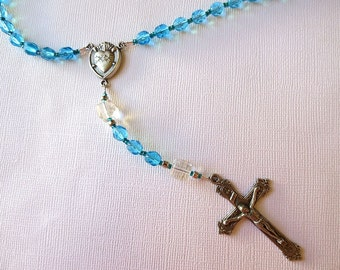 March Birthstone Rosary, Aquamarine colored Glass Catholic Rosary with Sacred Heart Center