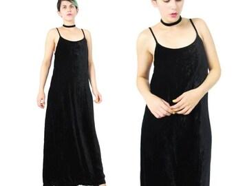 25% off SALE 90s Crushed Velvet Maxi Dress Black Velvet Dress Velvet Sleeveless Dress Minimalist Goth Spaghetti Strap Black Velvet Evening D