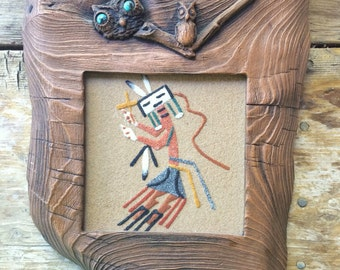 "Vintage Rainbow Kachina sand painting 4.5"" x 4.5"" in faux wood turquoise frame, Native American Indian sand painting, 1960s Southwestern art"