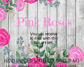 Instant Download - Watercolor Pink Roses Clip Art Set - Item# 104