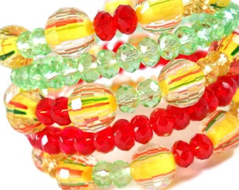 Colorful Bracelet, Bracelet Set, Red Yellow Green, Beaded Bracelet, Bracelet Stack, Coil Bracelet, Memory Wire Bracelet, Coordinate Bracelet