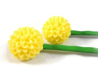 Yellow Flower Bobby Pin Set Yellow on Green Stems Cute Bobby Pins for Tween Teen Girls Hair Accessories Small Gift Idea Easter Basket Filler
