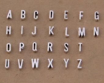 5 sets(130pcs) 11x7mm antiqued silver/antiqued bronze filigree alphabet letters pendant findings--slide styles