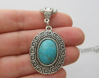 1 Pendant imitation turquoise oval NB19
