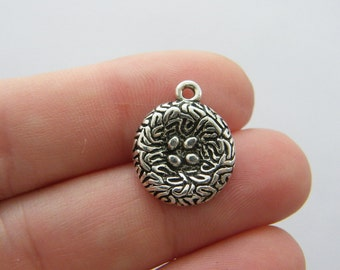 8 Bird nest pendants antique silver tone B177