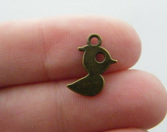 14 Bird charms antique bronze tone BC100