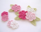 Pink Mix Crochet 6-Petal Flower Embellishments w/ Leaves Handmade Scrapbook Fashion Accessories Applique - 16 pcs. (401-2)