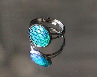 Blue Mermaid Ring-Adjustable