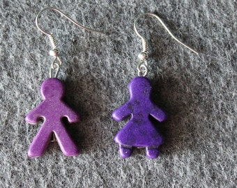 Boy and Girl, Earrings, Purple,Gender Earrings