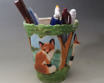 Ceramic fox pen pencil holder brush hand crafted high relief carved Anita Reay AnitaReayArt